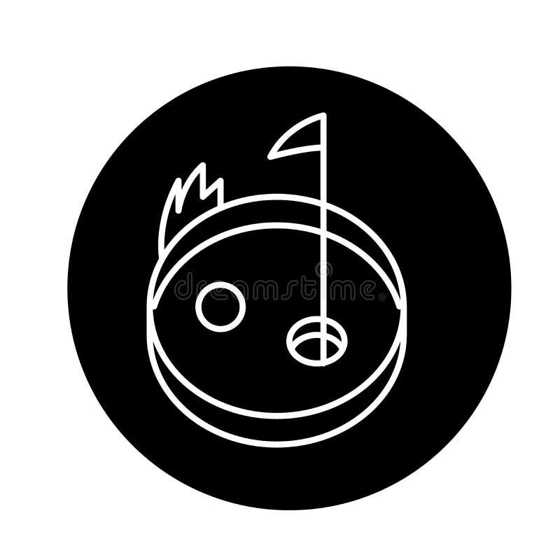 Schwarze Ikone des Golfs, Vektorzeichen auf lokalisiertem Hintergrund Golfkonzeptsymbol, Illustration lizenzfreie abbildung