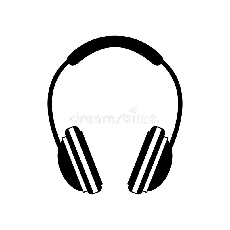 Schwarze Ikone des Kopfhörers stock abbildung