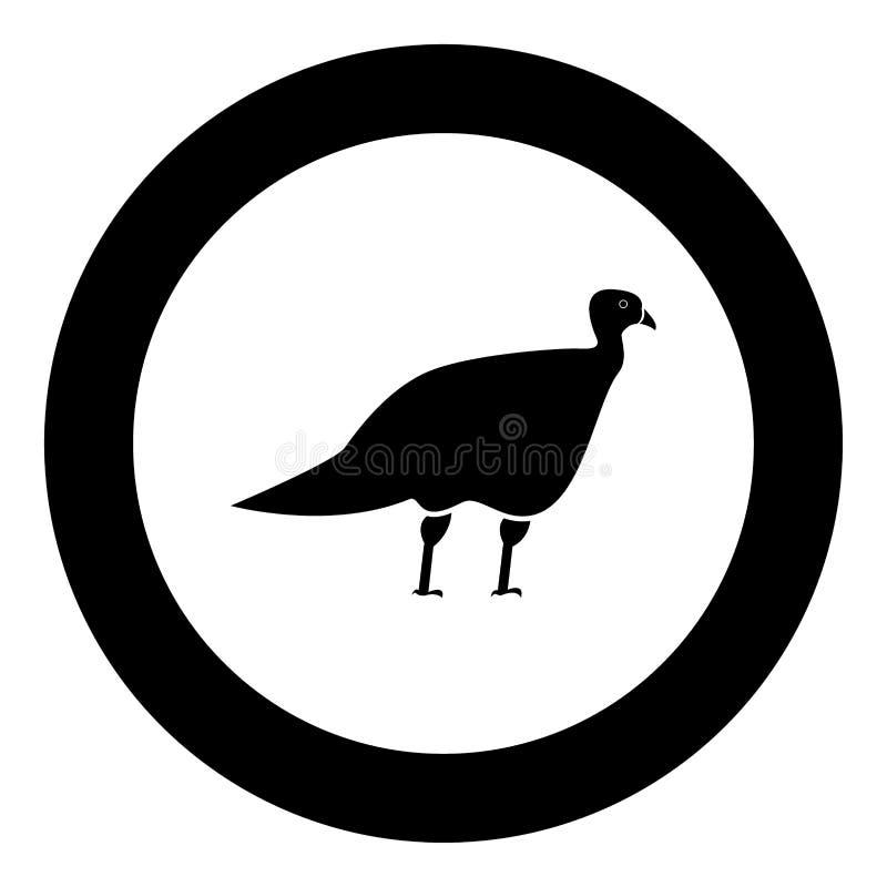 Schwarze Ikone des Turkeycock in der Kreisvektorillustration stock abbildung