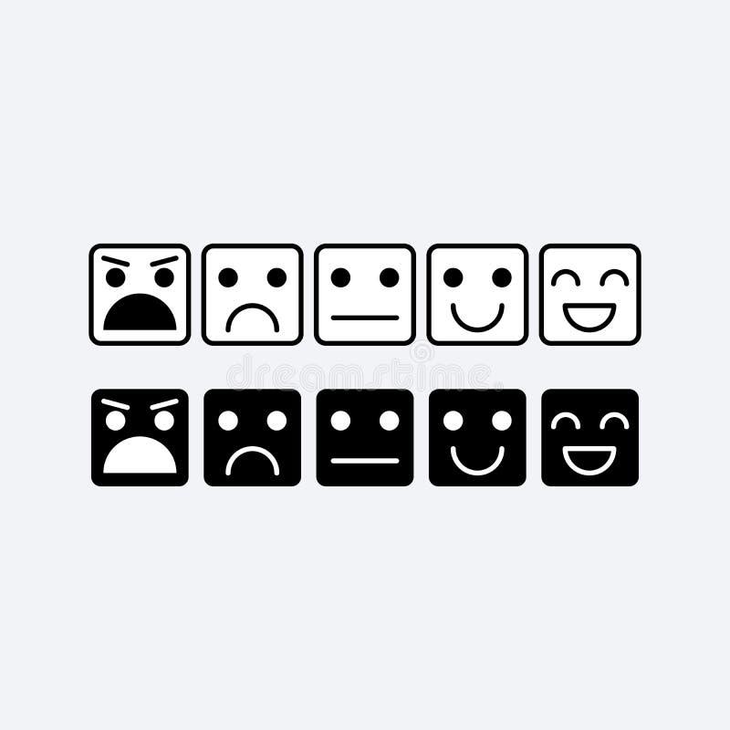 Schwarze Ikone des weißen Quadrats von Emoticons Rang, waagerecht ausgerichtete Zufriedenheits-Bewertung vektor abbildung