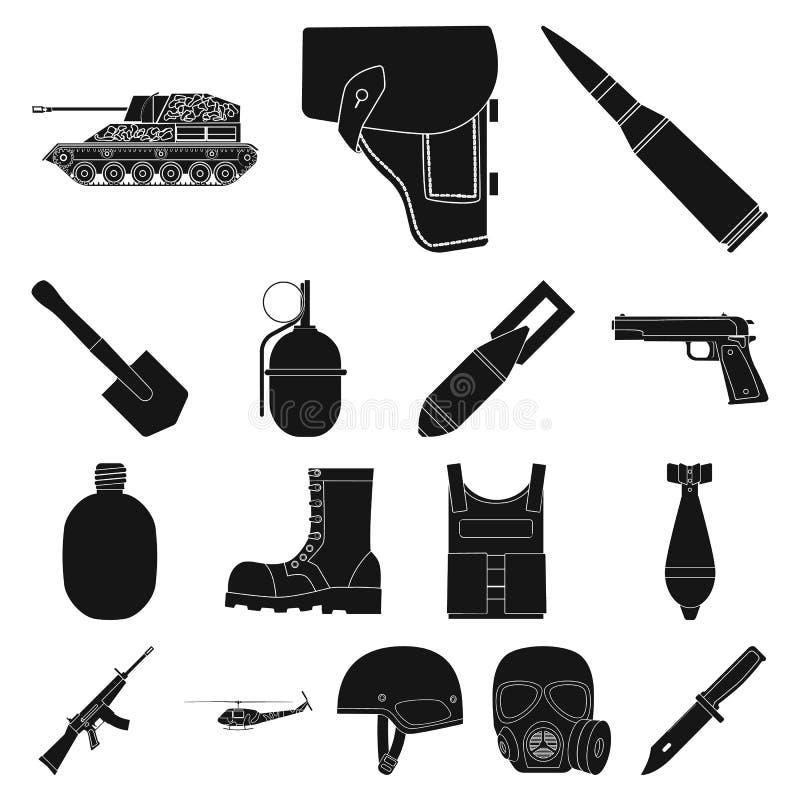 Schwarze Ikonen der Armee und der Bewaffnung in der Satzsammlung für Design Waffen und Ausrüstung vector Netzillustration des Sym lizenzfreie abbildung