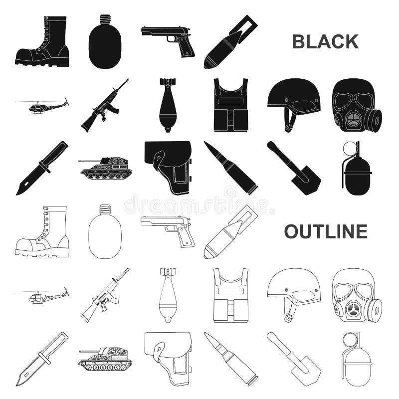 Schwarze Ikonen der Armee und der Bewaffnung in der Satzsammlung für Design Waffen und Ausrüstung vector Netzillustration des Sym stock abbildung