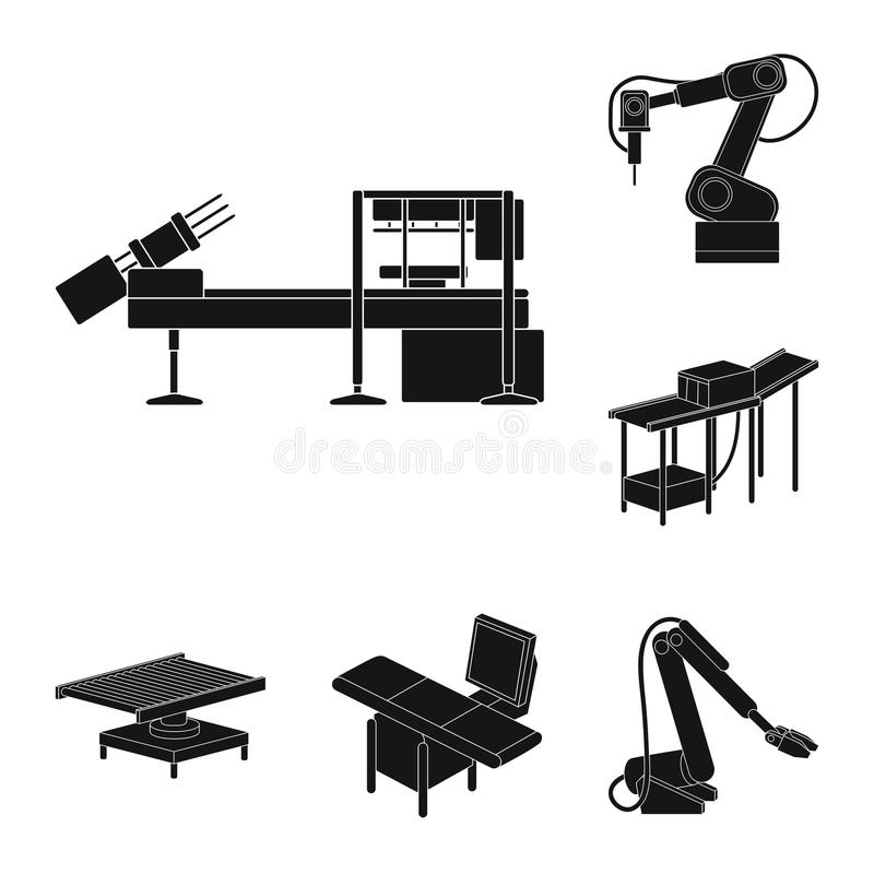 Schwarze Ikonen der Ausrüstung und der Maschine in der Satzsammlung für Design Technischer Fortschritt des Fabrikvektorsymbol-Vor vektor abbildung