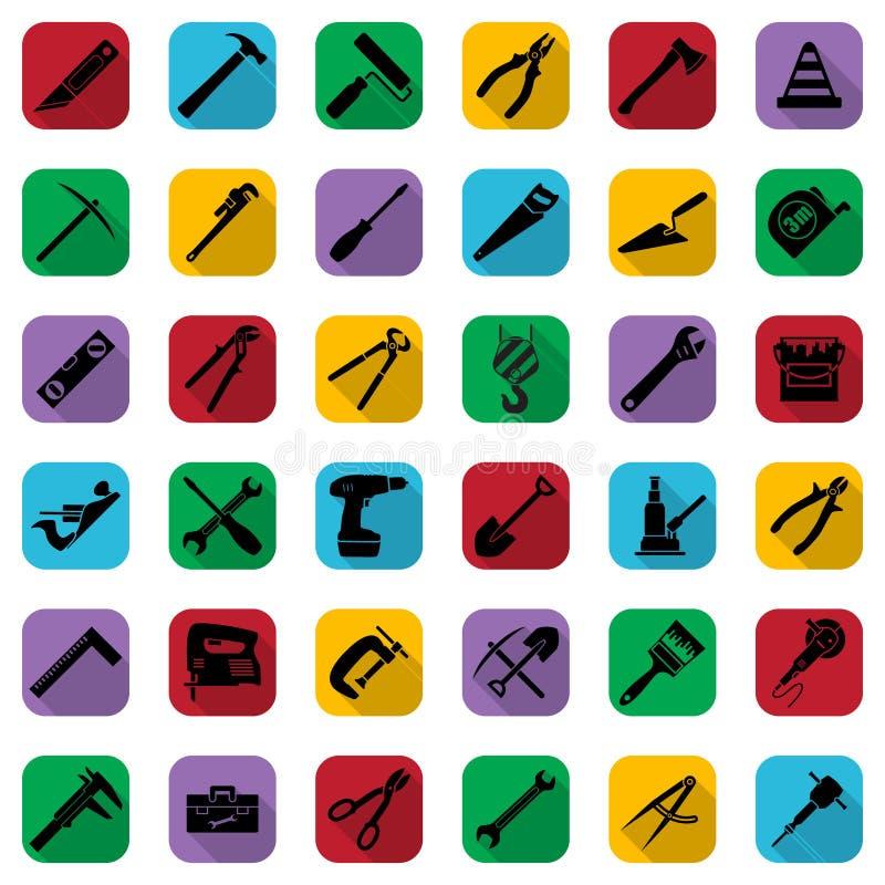 Schwarze Ikonen der Bauwerkzeuge stellten auf ein Farbquadrat ein Industrielle Zeichensammlung des Vektors lizenzfreie abbildung