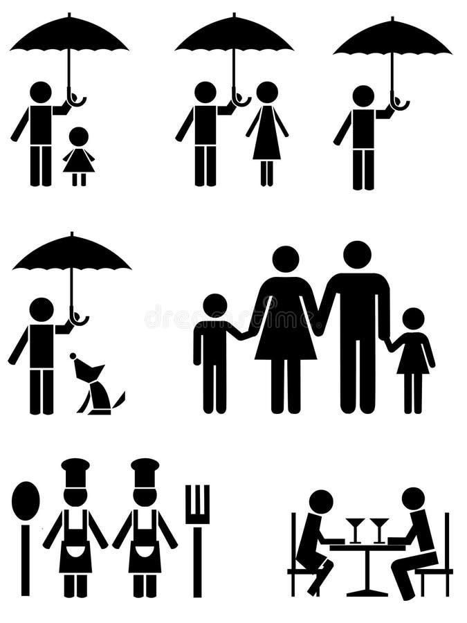 Schwarze Ikonen der Familie, des Nahrungsmittelservices und des Regenschirmes.