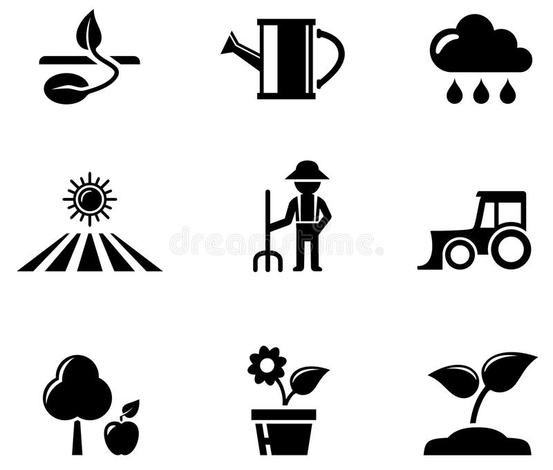 Schwarze Ikonen der Landwirtschaft eingestellt vektor abbildung