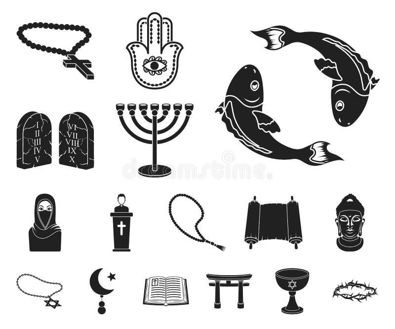 Schwarze Ikonen der Religion und des Glaubens in der Satzsammlung für Design Zubehör, Gebetsvektorsymbolvorrat-Netzillustration lizenzfreie abbildung