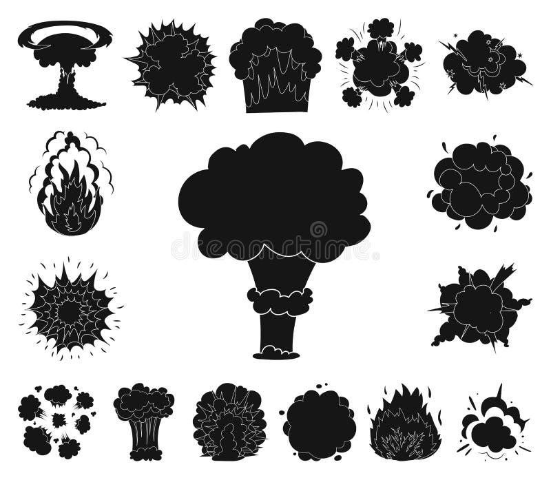 Schwarze Ikonen der verschiedenen Explosionen in der Satzsammlung für Design Blitz und Flamme vector Netzillustration des Symbols stock abbildung