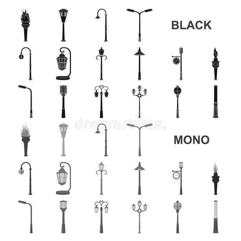 Schwarze Ikonen des Laternenpfahls in der Satzsammlung für Design Laterne und Beleuchtung vector Netzillustration des Symbols auf lizenzfreie abbildung