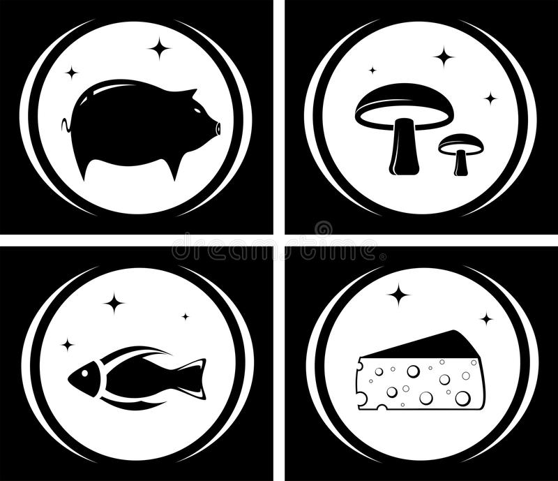 Schwarze Ikonen des Lebensmittels eingestellt stock abbildung