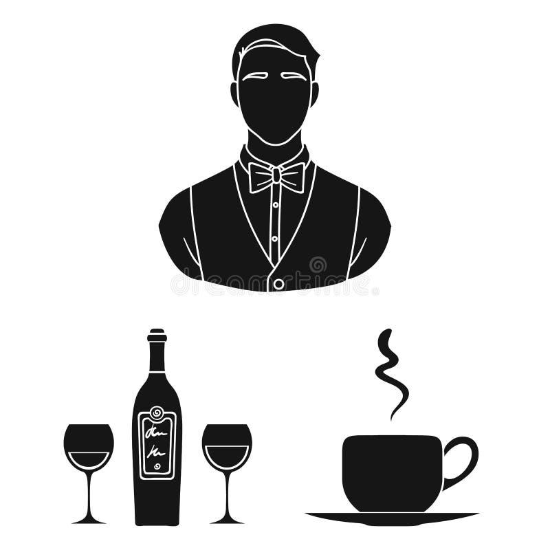 Schwarze Ikonen des Restaurants und der Bar in der Satzsammlung für Design Vergnügen, Lebensmittel und Alkohol vector Netz des Sy stock abbildung