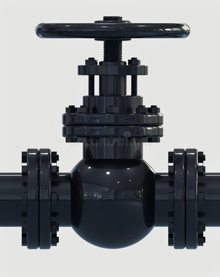 Schwarze Illustration des Gasrohr-Ventils 3D lizenzfreie abbildung