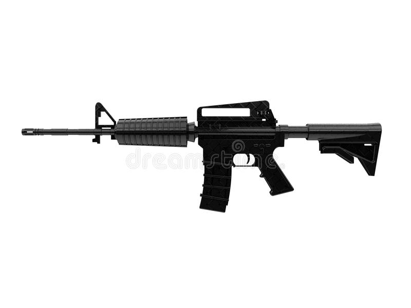 Schwarze Illustration des Sturmgewehrs AR15 lizenzfreie abbildung