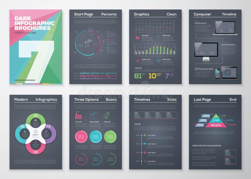 Schwarze infographic Schablonen in der Geschäftsbroschürenart vektor abbildung