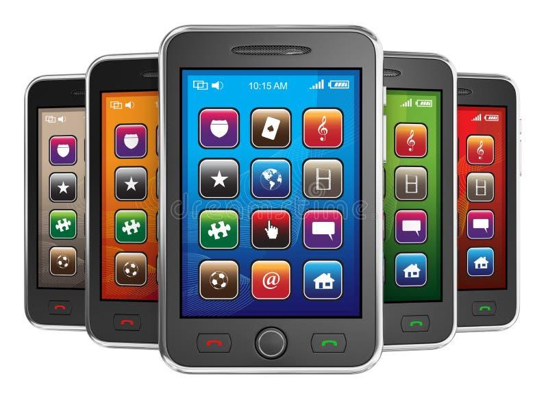 Schwarze intelligente Mobiltelefone stock abbildung