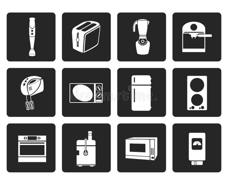 Schwarze Küchen- und Ausgangsausrüstungsikonen stock abbildung