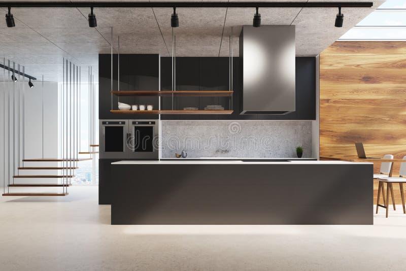 Schwarze Küchenarbeitsplatte, Holz und Beton stock abbildung