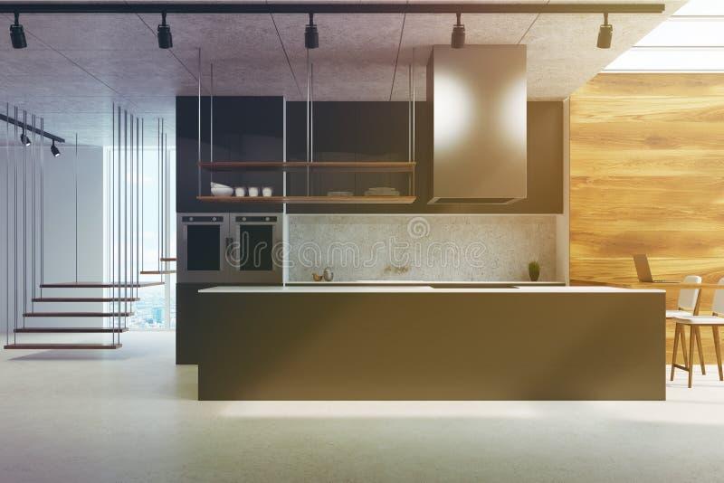 Schwarze Küchenarbeitsplatte, Holz und Beton getont vektor abbildung
