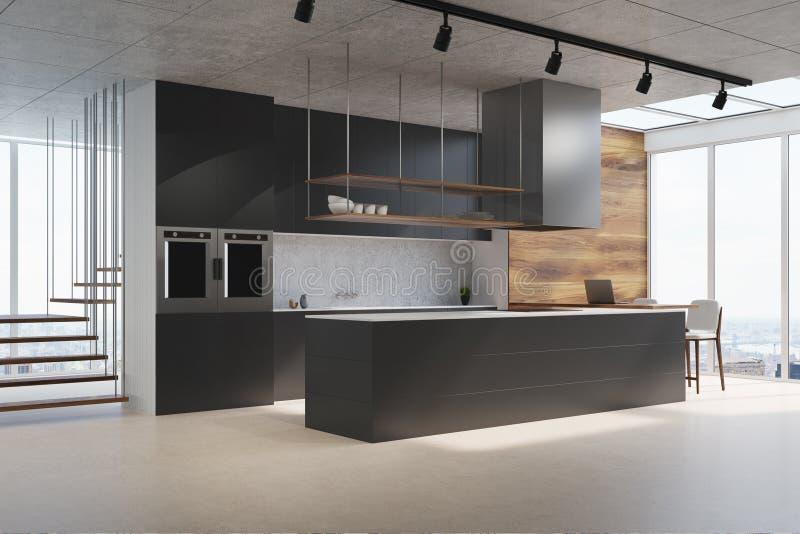 Schwarze Küchenarbeitsplatte, Seitenansicht stock abbildung