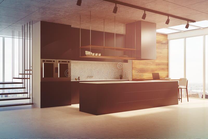 Schwarze Küchenarbeitsplatte, Seitenansicht getont stock abbildung