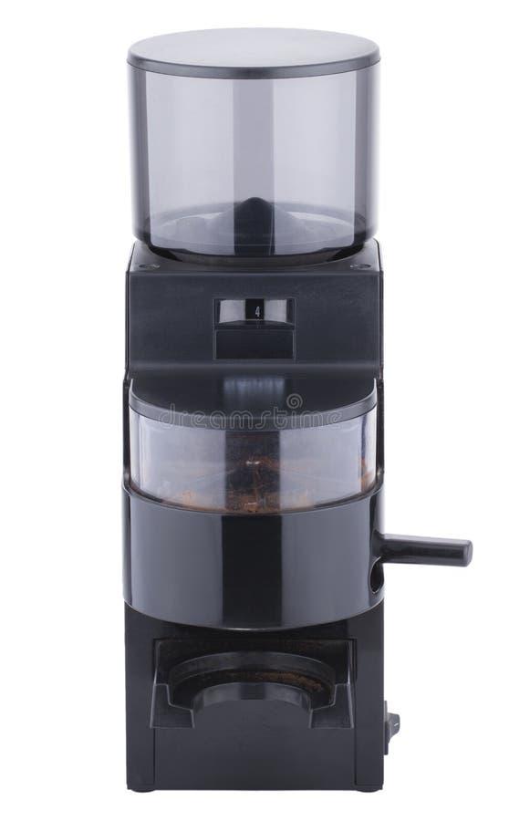 Schwarze Kaffeemühle, Stadien des Kaffees machend, lokalisiert auf weißem Hintergrund lizenzfreies stockfoto