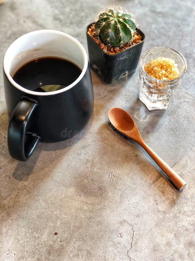 Schwarze Kaffeetasse mit hölzernem Löffel, grüner Kaktus, brauner Zucker im Glas lizenzfreies stockbild