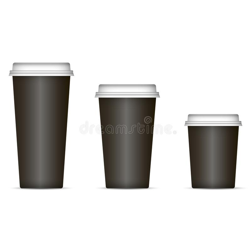 Schwarze Kaffeetassen eingestellt lokalisiert auf Hintergrund Vektorabbildung ENV-10 Wegwerfpapier- oder Plastikschalen mit Decke vektor abbildung