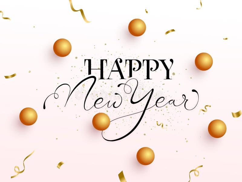 Schwarze Kalligrafie von glücklichem Neujahrstext mit 3D-Goldenen Sternen und Confetti Ribbon vektor abbildung