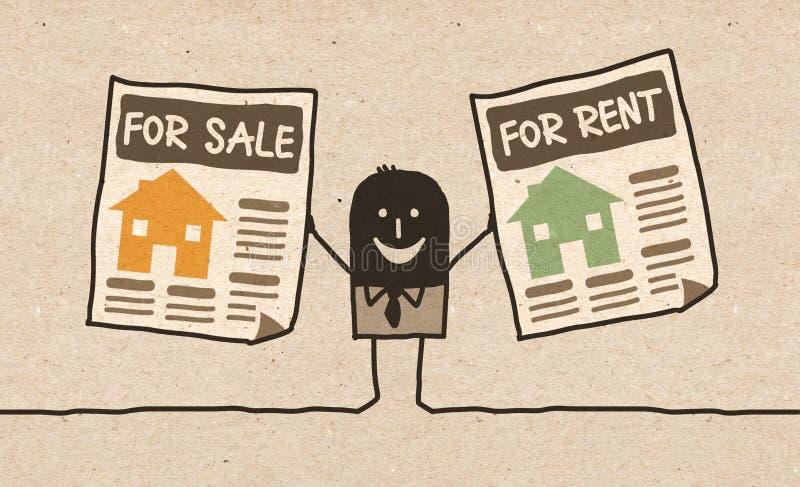 Schwarze Karikatur Immobilienagentur lizenzfreie abbildung