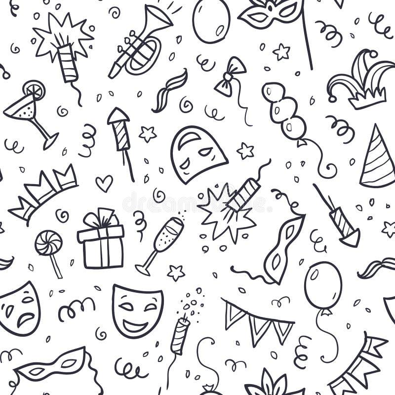 Schwarze Karnevalssymbole in der Gekritzelart auf Weiß lizenzfreie abbildung
