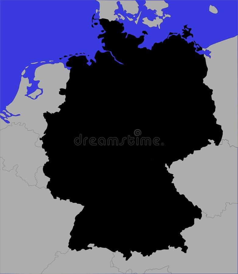 Schwarze Karte von Deutschland lizenzfreie abbildung