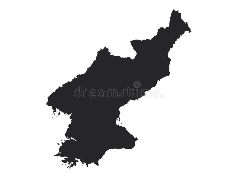 Schwarze Karte von Nordkorea stock abbildung