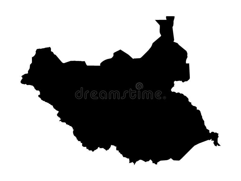 Schwarze Karte von Süd-Sudan vektor abbildung