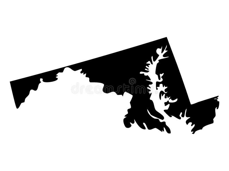 Schwarze Karte von USA-Staat Maryland vektor abbildung