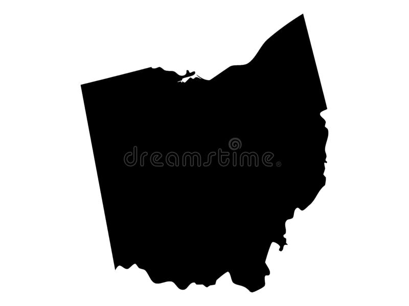 Schwarze Karte von USA-Staat Ohio lizenzfreie abbildung