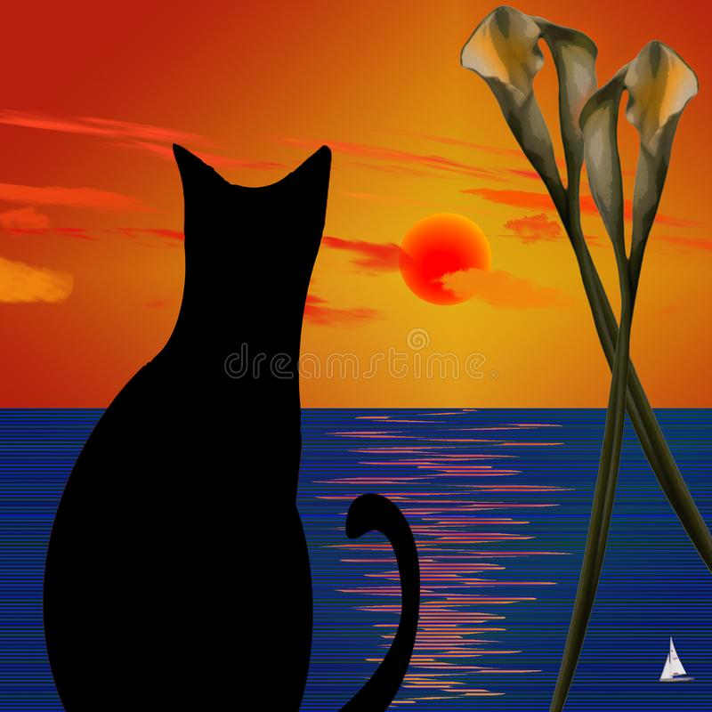 Schwarze Katze vektor abbildung
