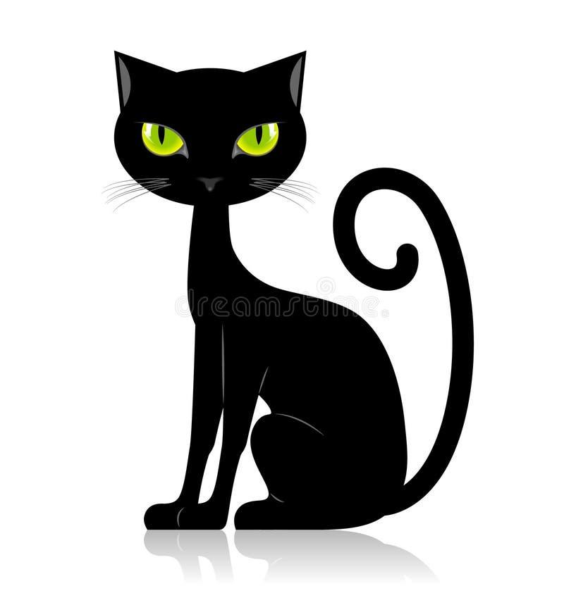 Schwarze Katze lizenzfreie abbildung