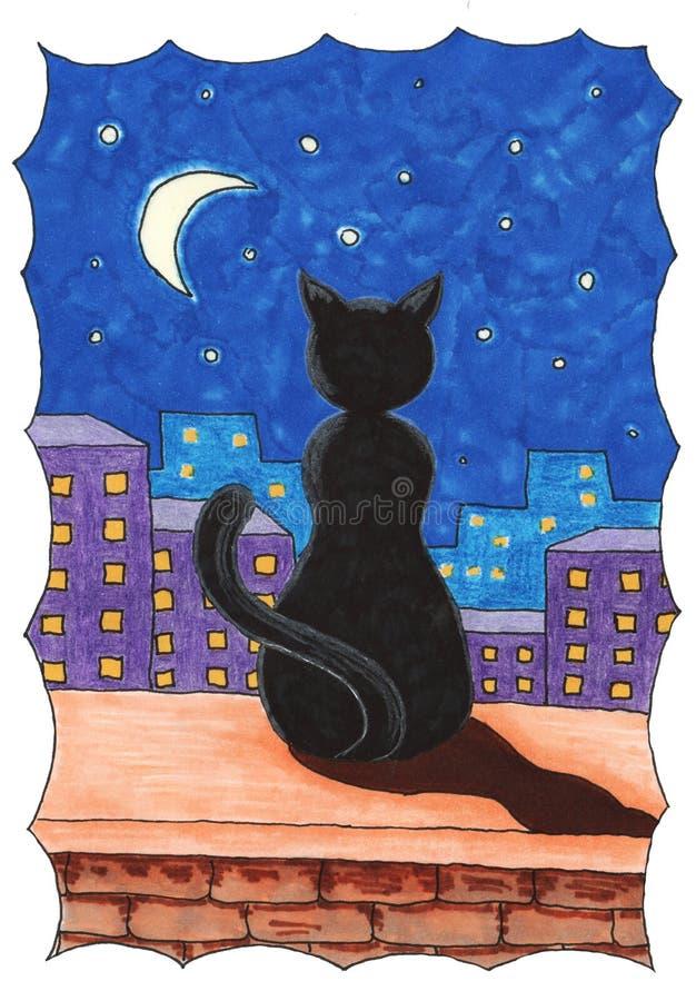 Schwarze Katze auf dem Geländer des Hauses an der Nacht und am Mond lizenzfreie stockbilder