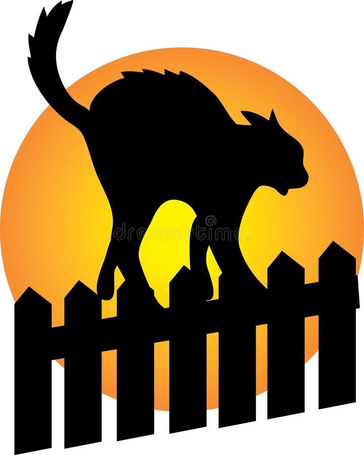 Schwarze Katze auf einem Zaun vektor abbildung