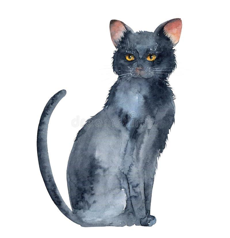 Schwarze Katze auf weißem Hintergrund lizenzfreie abbildung