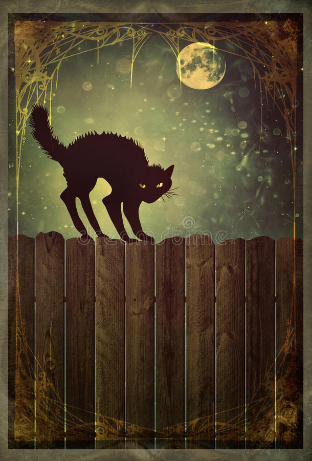 Schwarze Katze auf Zaun mit Weinleseblick vektor abbildung