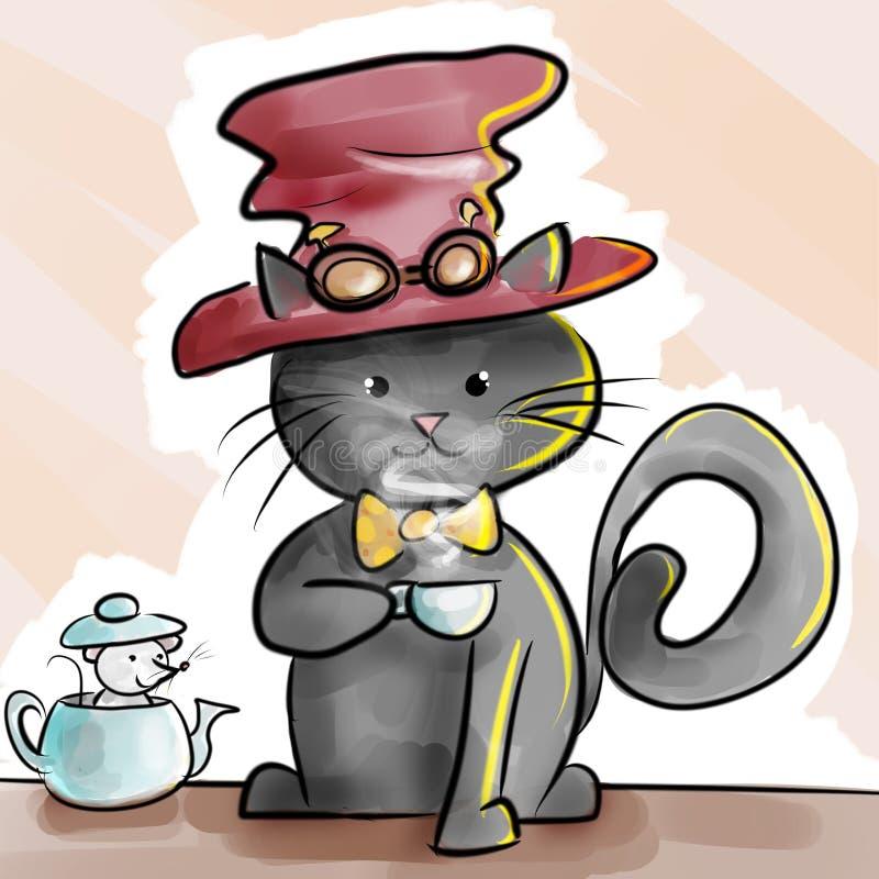 Schwarze Katze in der Halloween-steampunk Kostümkarikatur-Skizzenillustration vektor abbildung