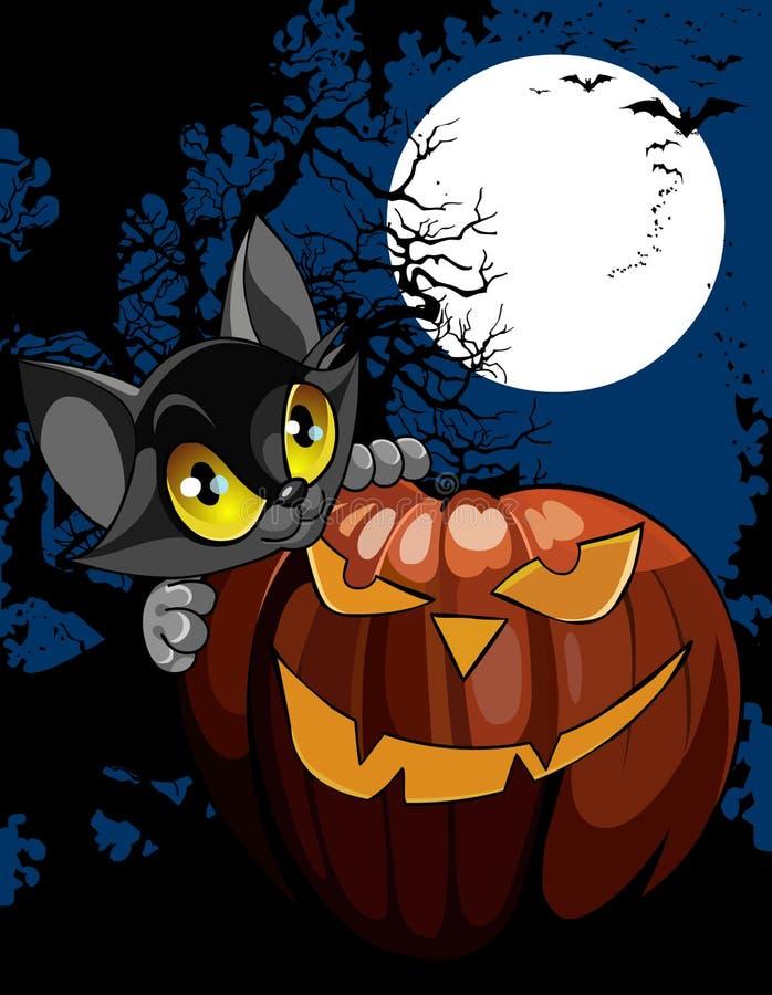 Schwarze Katze der Karikatur mit Kürbis nachts unter dem Mond lizenzfreie abbildung