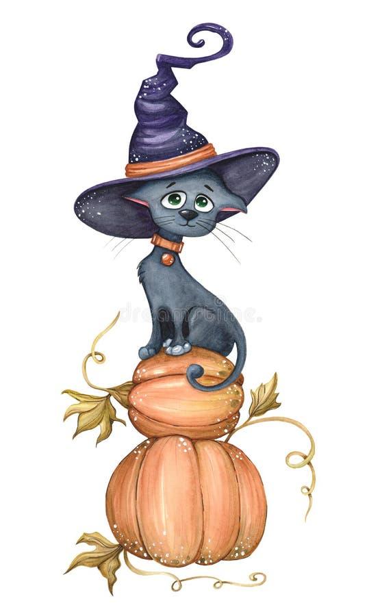 Schwarze Katze des Aquarells, die auf einem Kürbis sitzt stock abbildung