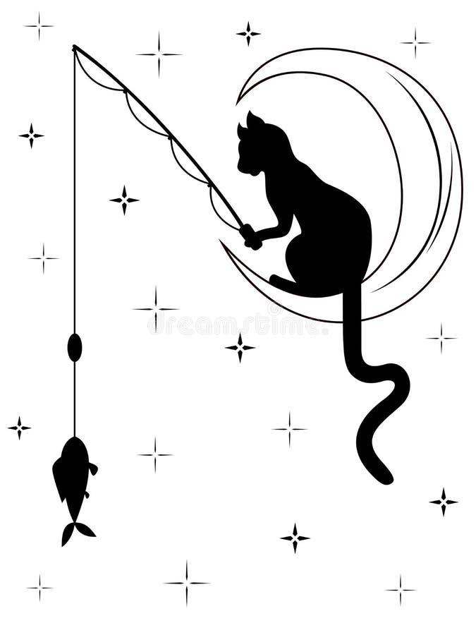 Schwarze Katze, die auf dem Mond und den Fängen ein Fisch sitzt stock abbildung