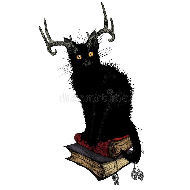 Schwarze Katze, die auf magischen Büchern sitzt lizenzfreie abbildung