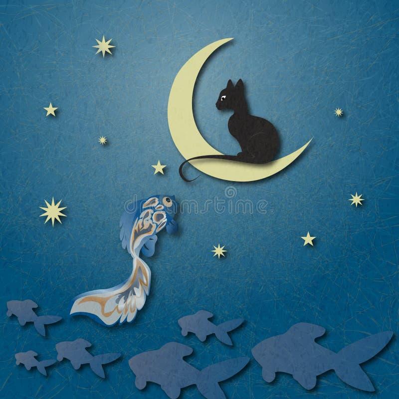 Schwarze Katze, die auf Mond sitzt und goldene Fische unter sternenklarem Himmel fischt vektor abbildung
