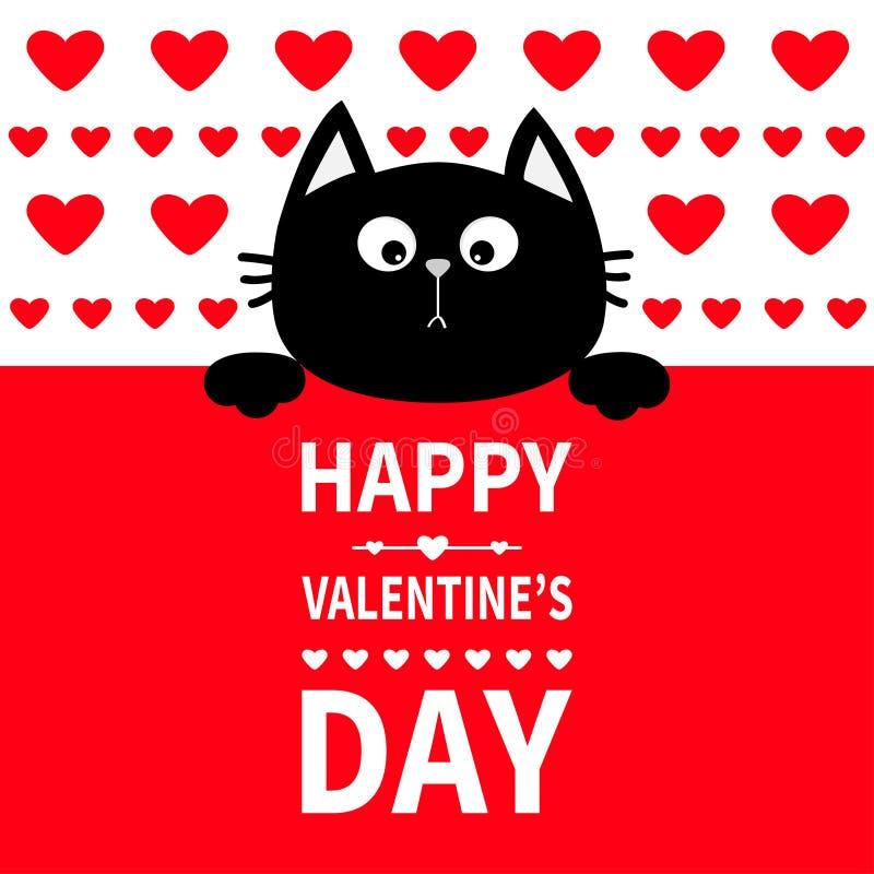 Schwarze Katze, die an Bord des Schildes hängt Lustige Kätzchenmiezekatze der netten Karikatur, die hinter Papier sich versteckt  lizenzfreie abbildung