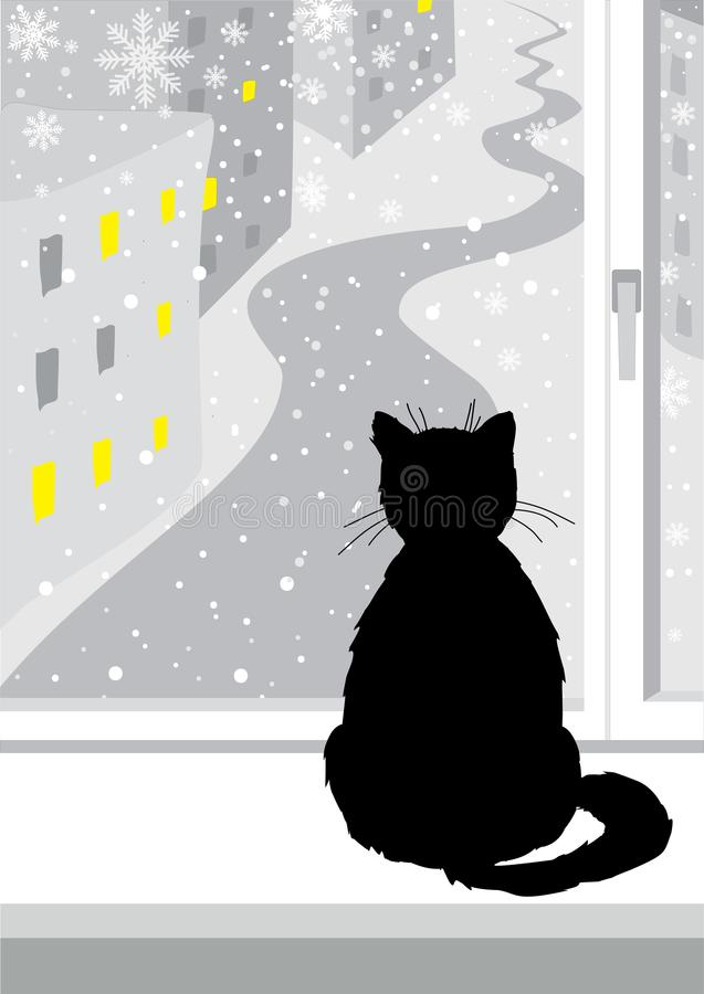 Schwarze Katze, die am Fenster sitzt Graue Farben Fallender Schnee Katze betrachtet heraus das Fenster der Straße Die Fenster wer lizenzfreie abbildung