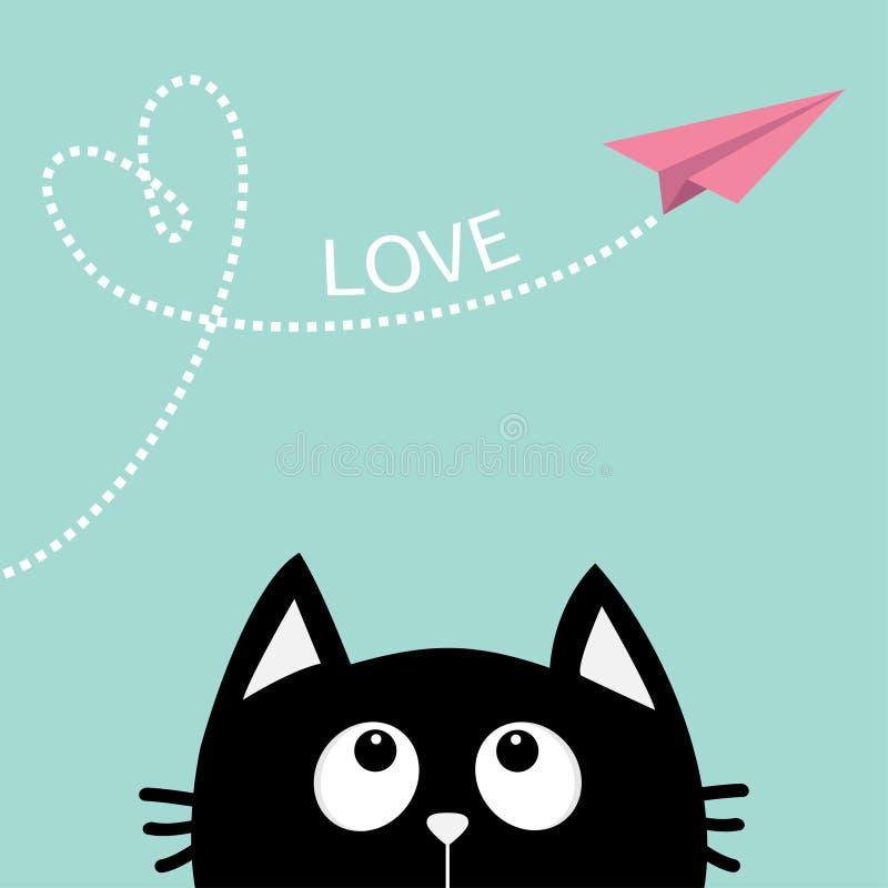 Schwarze Katze, die oben schaut, um Fliegenorigami-Papierflugzeug auszuzacken Dashed line Herzschleife Lokalisiert auf Weiß Nette lizenzfreie abbildung